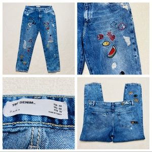 ZARA TRF Jeans Size 8 Blue Patches Embroidered
